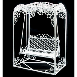 White Wire Metal Rocking Chair Bench Seat 1:12 Scale Dollhouse Furniture