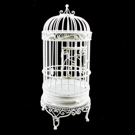 White Wire Metal Birdcage Jewelry Display Dollhouse Furniture