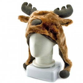 Moose Deer Animal Mascot Plush Costume Mask Fur Hat Cap