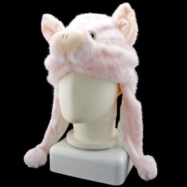 Pink Pig Piggy Animal Funny Mascot Costume Mask Fur Hat Cap