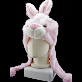 Pink Rabbit Bunny Funny Mascot Costume Mask Fur Hat Cap