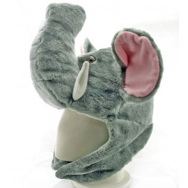 Elephant Plush Mascot Fancy Dress Costume Mask Fur Hat Cap