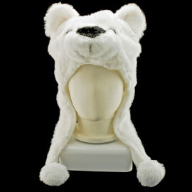 Polar Bear Mascot Plush Fancy Dress Costume Hat Cap
