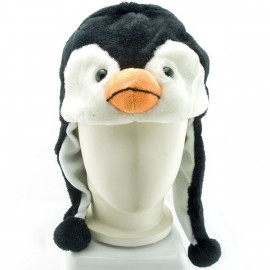 Penguin Mascot Plush Fancy Dress Costume Fur Hat Cap