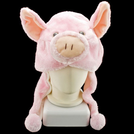 Pink Pig Mascot Plush Fancy Dress Costume Hat Cap