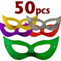 Lot 50 Shiny Bat Mardi Gras Masquerade Ball Party Mask