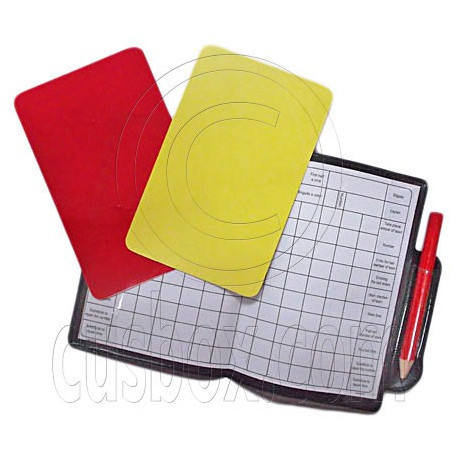 Football Referee Penalty Red Yellow Cards with Wallet Pencil Note Set