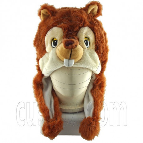 Squirrel Chipmunk Chip Brown Mascot Plush Costume Halloween Ball Hat Cap Mask