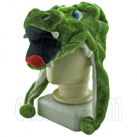 Crocodile Cute Green Animal Fur Mascot Plush Costume Halloween Ball Hat Cap Mask