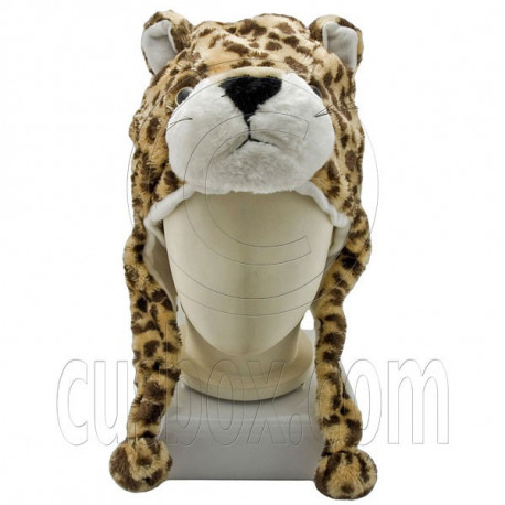 Cheetah Brown Leopard Tiger Fur Mascot Plush Costume Halloween Ball Hat Cap Mask