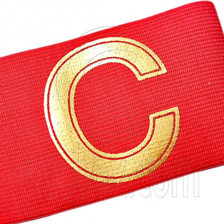 Football Games Gear Adjustable Golden C Captain Armband (RED)