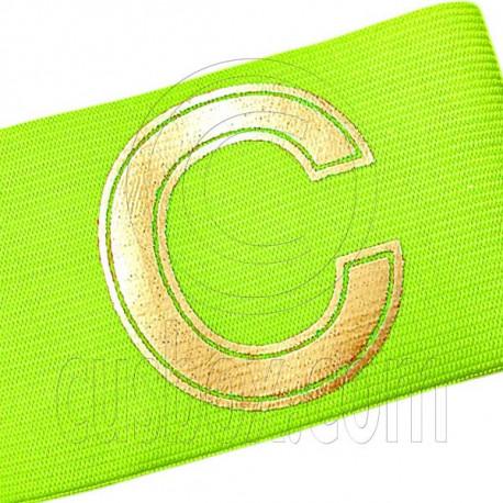 Football Games Gear Adjustable Golden C Captain Armband (Fluorescent Yellow)