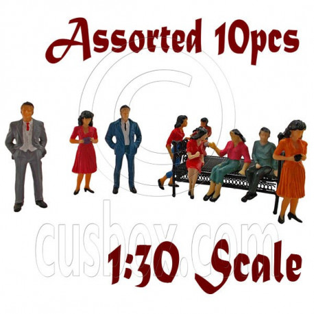 LotSet 10 Sitting Standing People Figure Painted War Train Model 1:30 G Scale