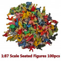 Lot Set 100 Seated Sitting Passengers Figure Painted Train Model 1:87 HO Scale