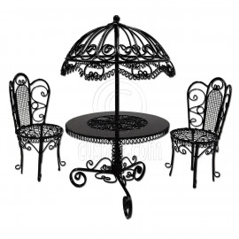 Set Black Wire Garden Umbrella Table Chair 1:12 Doll's House Dollhouse Furniture