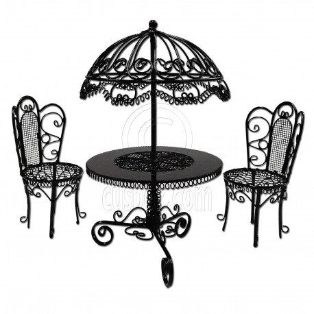 Set Black Wire Garden Umbrella Table Chair 1:12 Doll\'s House ...
