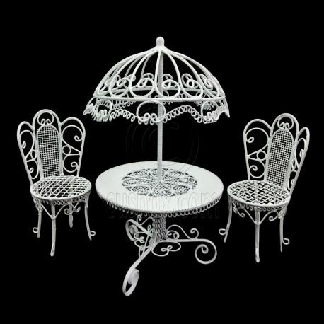 Set White Wire Garden Umbrella Table Chair 1:12 Doll's House Dollhouse Furniture