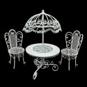 Set White Wire Garden Umbrella Table Chair 1:12 Doll's House Dollhouse Furniture