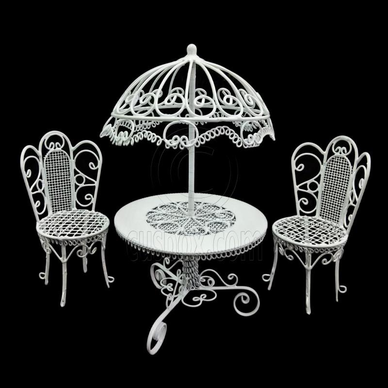 Set White Wire Garden Umbrella Table Chair 1 12 Doll S