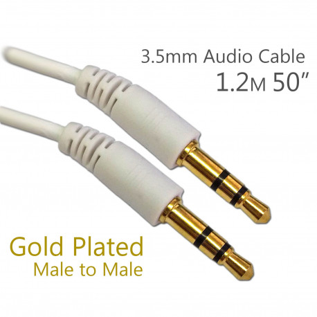 3.5mm White Extension Stereo Audio Long Cable Aux Auxiliary Male to M 1.2m 4 Ft