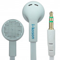 White 3.5mm Earphone Headphone Earbud Headset Flat Tangle Free Cable Y-Cord