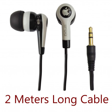 3.5mm 2m 2 Meters Long Cable In-Ear Earbud Headphones Earphones for iPod