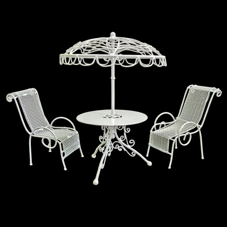 Set White Metal Outdoor Umbrella Table Chair 1:12 Doll's House Dollhouse Furniture