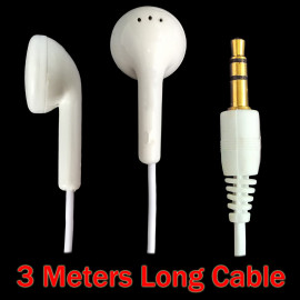 White 3.5mm 3M 3 Meters Long In-Ear Cable Earbuds Headphones Earphones Headset