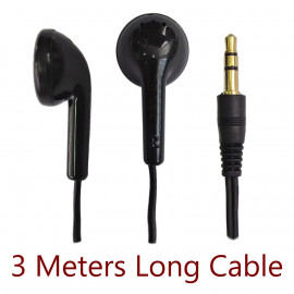 Black 3.5mm 3M 3 Meters Long In-Ear Cable Earbuds Headphones Earphones Headset