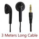Black 3.5mm 3M 3 Meters Long In-Ear Cable Earbuds Headphones Earphones Headset