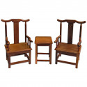 Set Raw Wenge Wood Chinese Armchair Tea Coffee Table 1:6 Scale Doll's Furniture