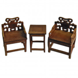 Set Raw Wenge Wood Chinese Chair Coffee Table 1:6 Scale Doll's House Furniture