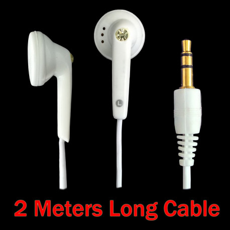 Crystal 3.5mm 2M 2 Meters Long Cable Wire Earbuds Headphones Earphones Headset