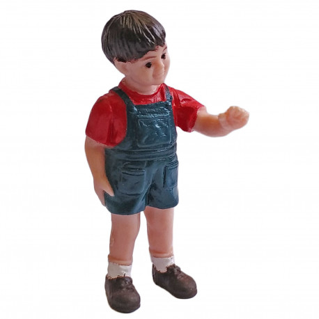 Boy Young Human Red Shirt Shorts 1:30 Scale Train Model Figure Figurine 5cm Tall