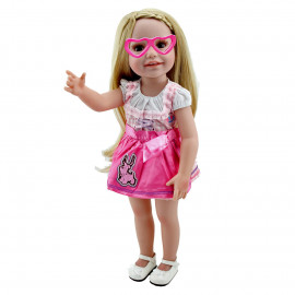 "Pink Double Heart Eye Glasses Sunglasses for 18"" Inch American Girl Dolls Bitty"
