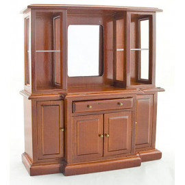 Chinese Vintage Walnut Wood Cabinet Dollhouse Furniture