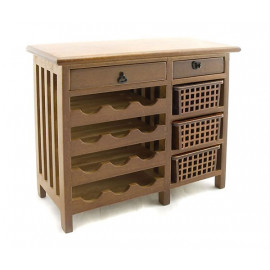 Kitchen Wine Walnut Cabinet Drawer Dollhouse Furniture